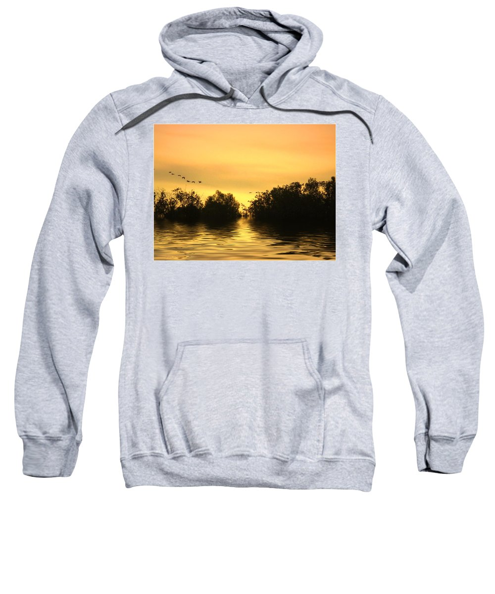 Sunset Sweatshirt featuring the photograph On Golden Pond by Joyce Dickens