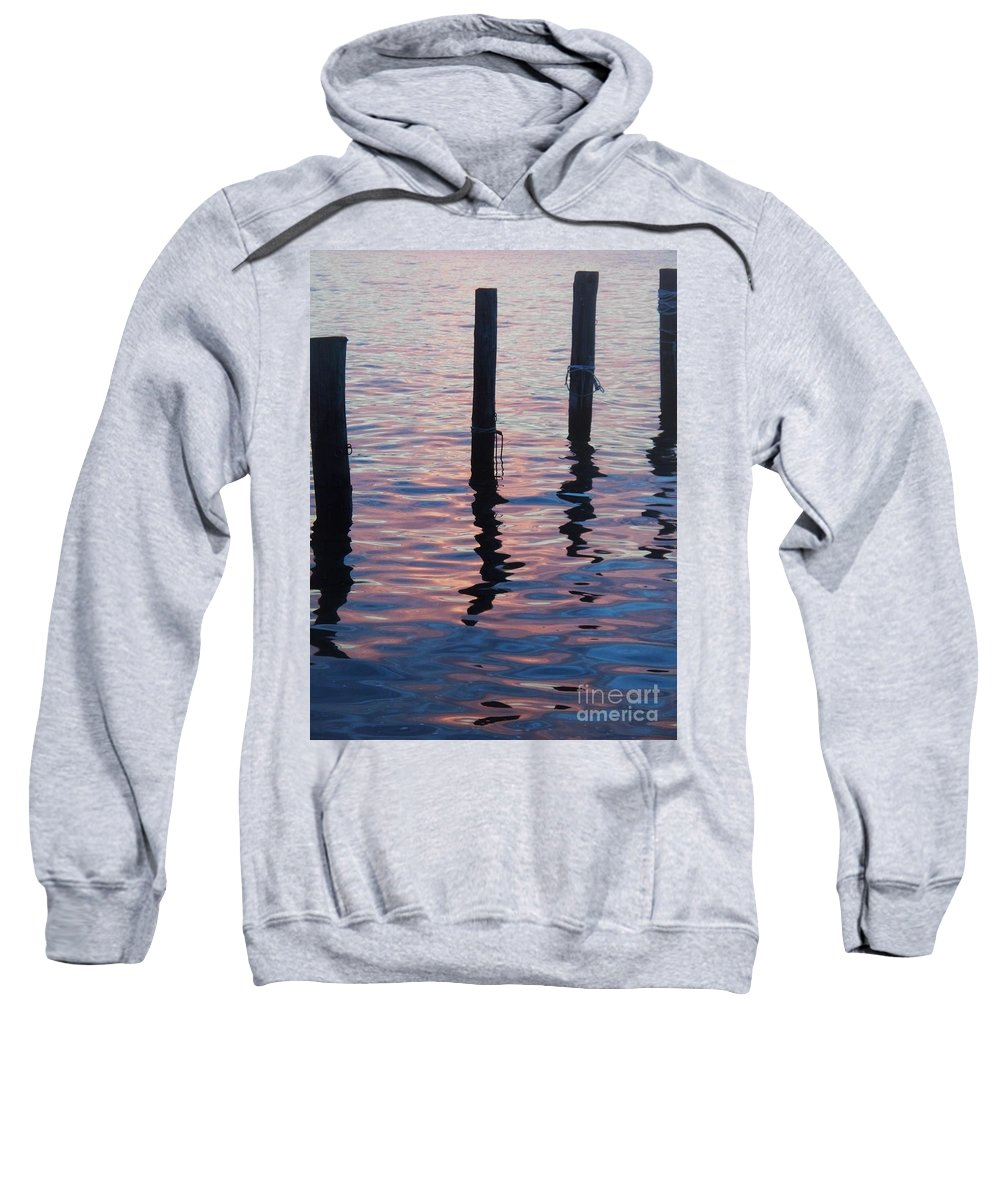 River Sweatshirt featuring the photograph On The Dock Of The Bay by Eric Schiabor