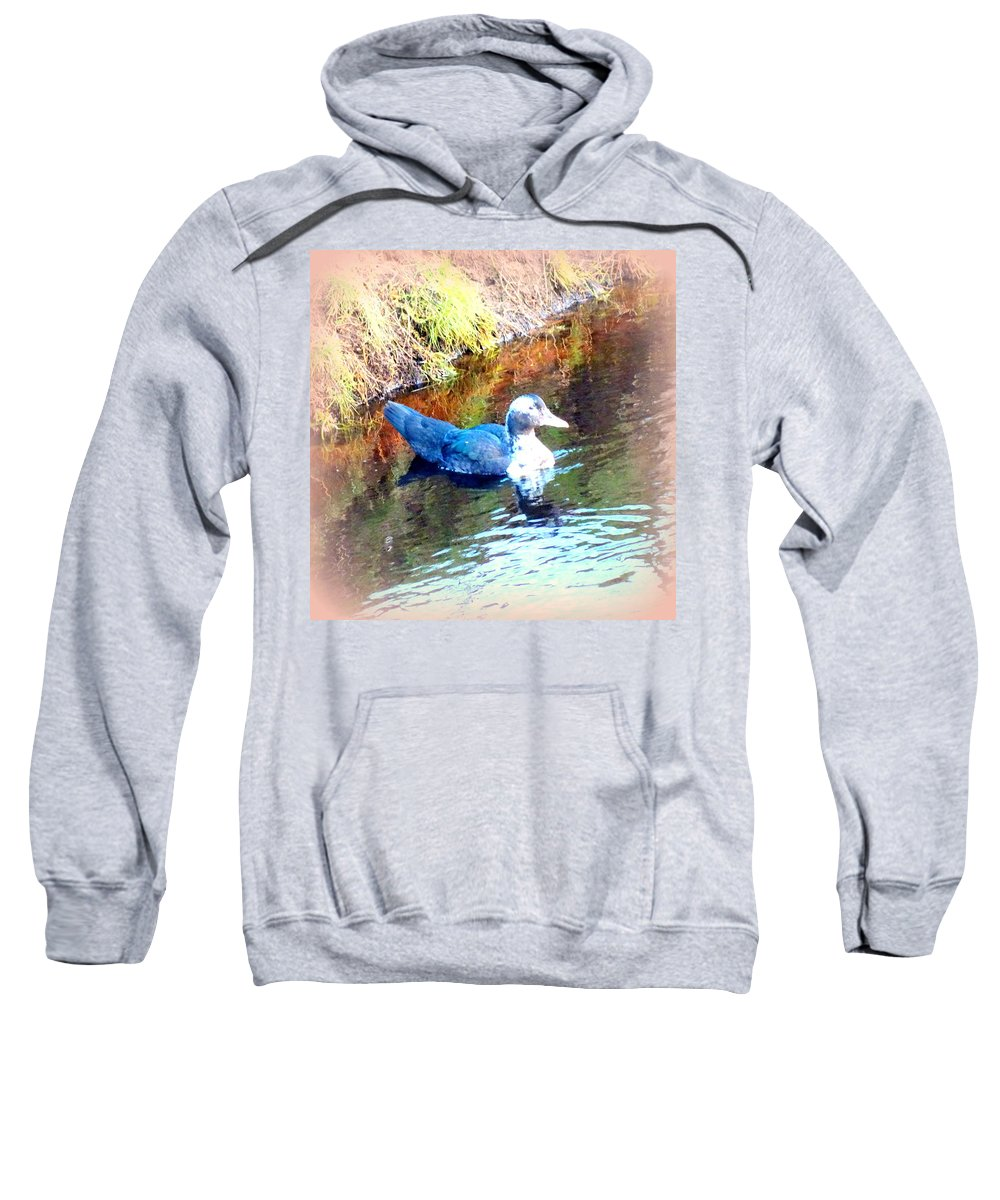 Duck Sweatshirt featuring the photograph on the surface I manage to stay calm but inside I am flying to escape by Hilde Widerberg