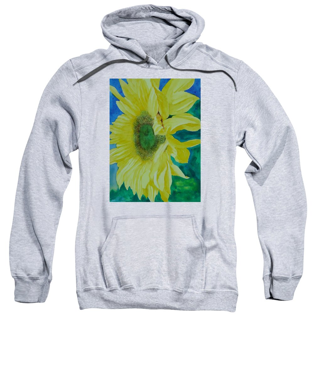 Original Sunflower Painting Sweatshirt featuring the painting One Bright Sunflower Colorful Original Art Floral Flowers Artist K. Joann Russell Decor Art by K Joann Russell