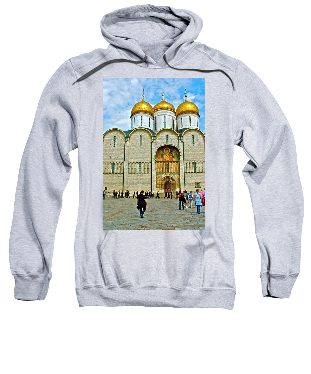 Onion Domes On Cathedral Of The Annunciation Inside The Kremlin Wall In Moscow Sweatshirt featuring the photograph Onion Domes On Cathedral Of The Assumption Inside Kremlin In Moscow-russia by Ruth Hager