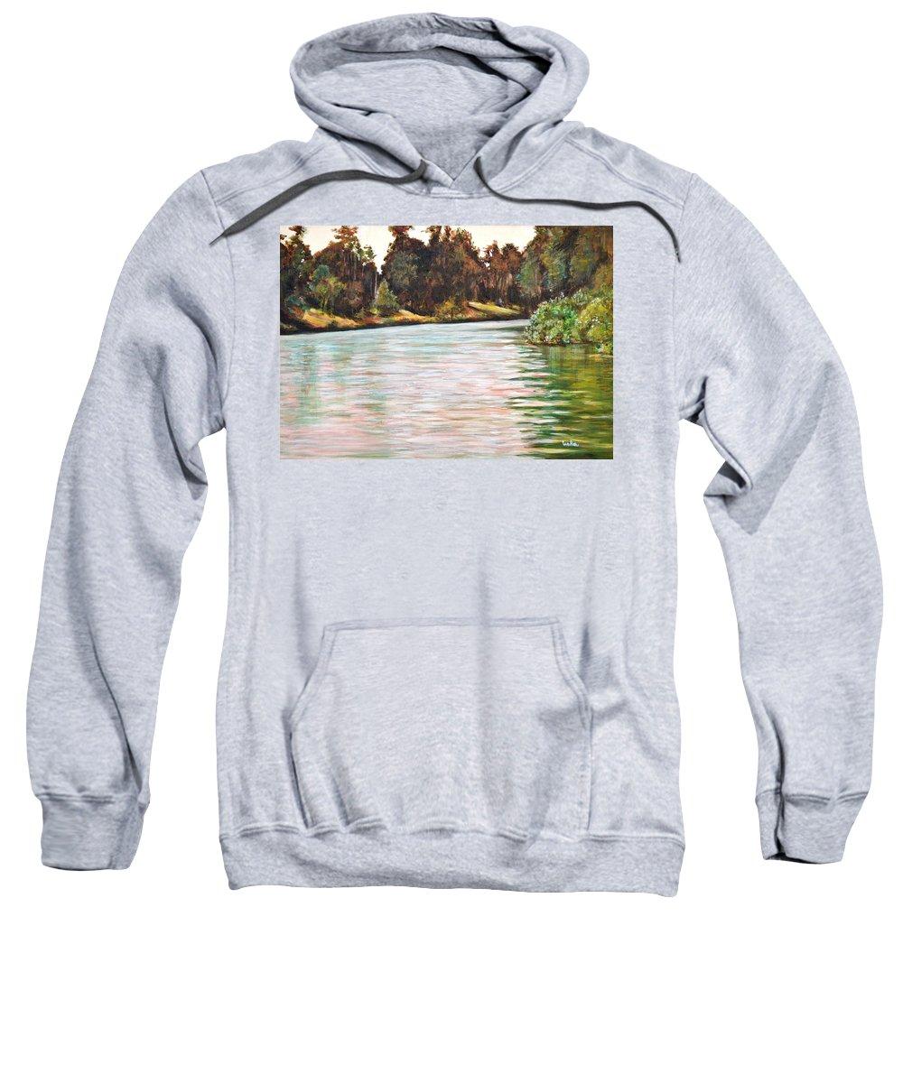 Ooty Lake Sweatshirt featuring the painting Ooty Lake by Usha Shantharam