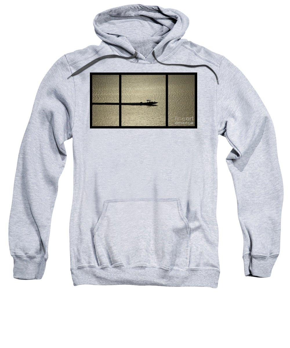 Open Water Sweatshirt featuring the digital art Open Waters Triptych by Peter Piatt