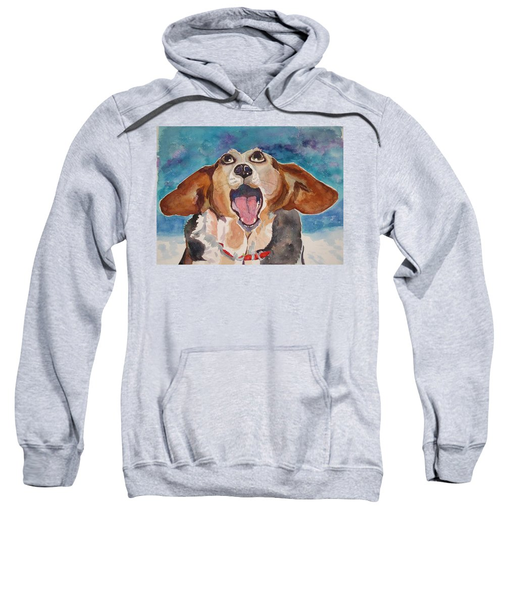 Basset Hound Sweatshirt featuring the painting Opera Dog by Brenda Kennerly