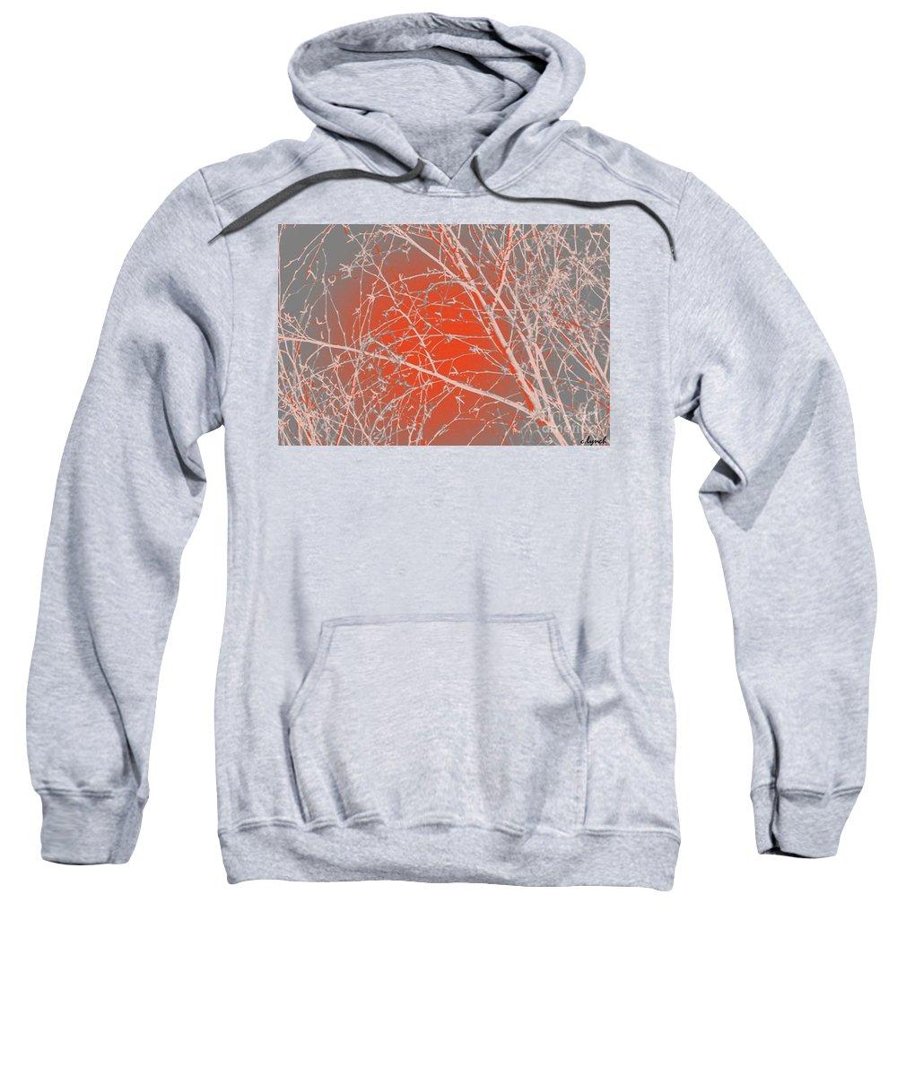 Orange Sweatshirt featuring the digital art Orange Branches by Carol Lynch