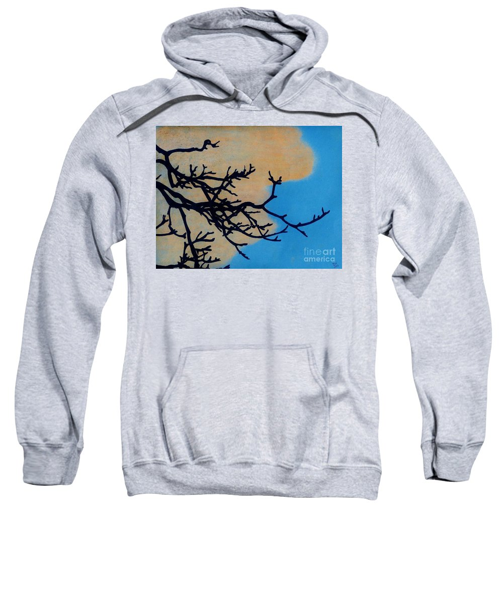 Sunset Sweatshirt featuring the drawing Orange Clouds by D Hackett