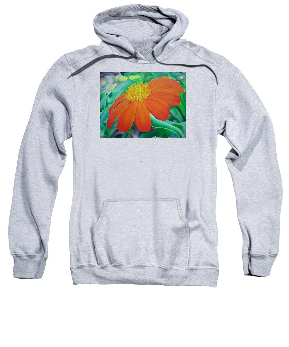 Flowers Sweatshirt featuring the painting Orange Flower by Joshua Morton