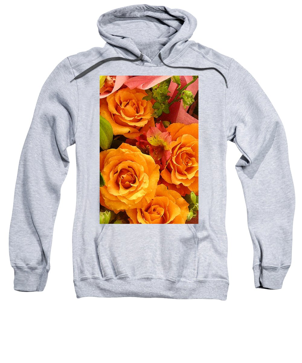 Roses Sweatshirt featuring the painting Orange Roses by Amy Vangsgard
