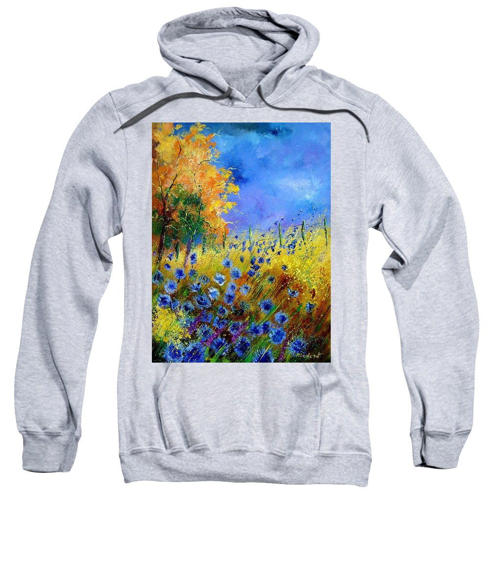 Poppies Sweatshirt featuring the painting Orange Tree And Blue Cornflowers by Pol Ledent