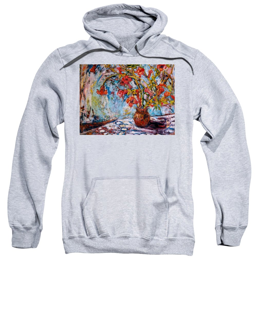 Trumpet Flowers Sweatshirt featuring the painting Orange Trumpet Flowers by Kendall Kessler