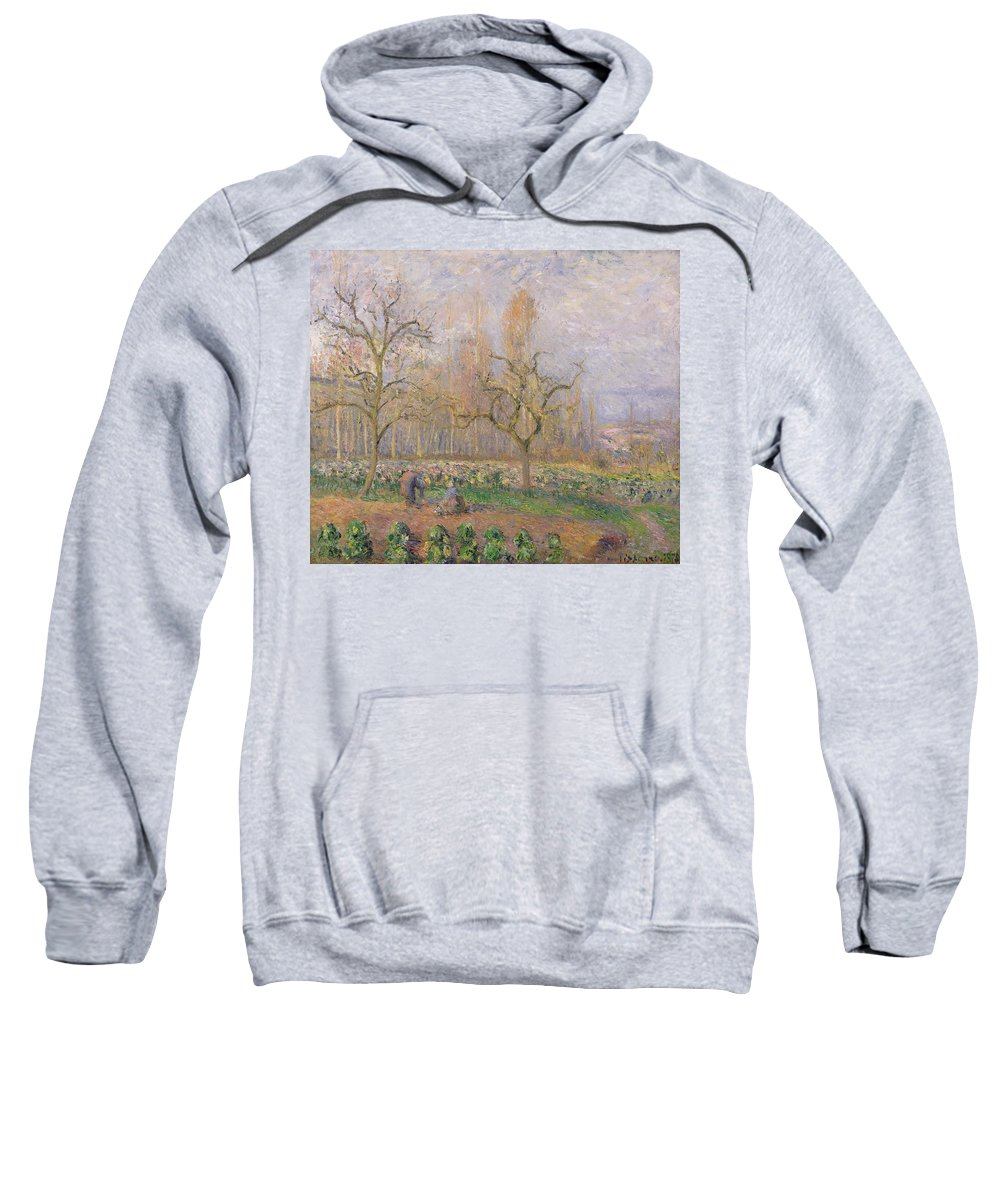 Verger A Pontoise; Landscape; Tree; Gardening; Gardener; Daily Life Scene; Tree; Trees; Vegetable Garden; Ile-de-france; Impressionist Sweatshirt featuring the painting Orchard At Pontoise by Camille Pissarro
