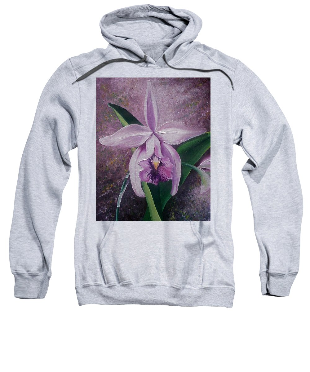 Orchid Purple Floral Botanical Sweatshirt featuring the painting Orchid Lalia by Karin Dawn Kelshall- Best