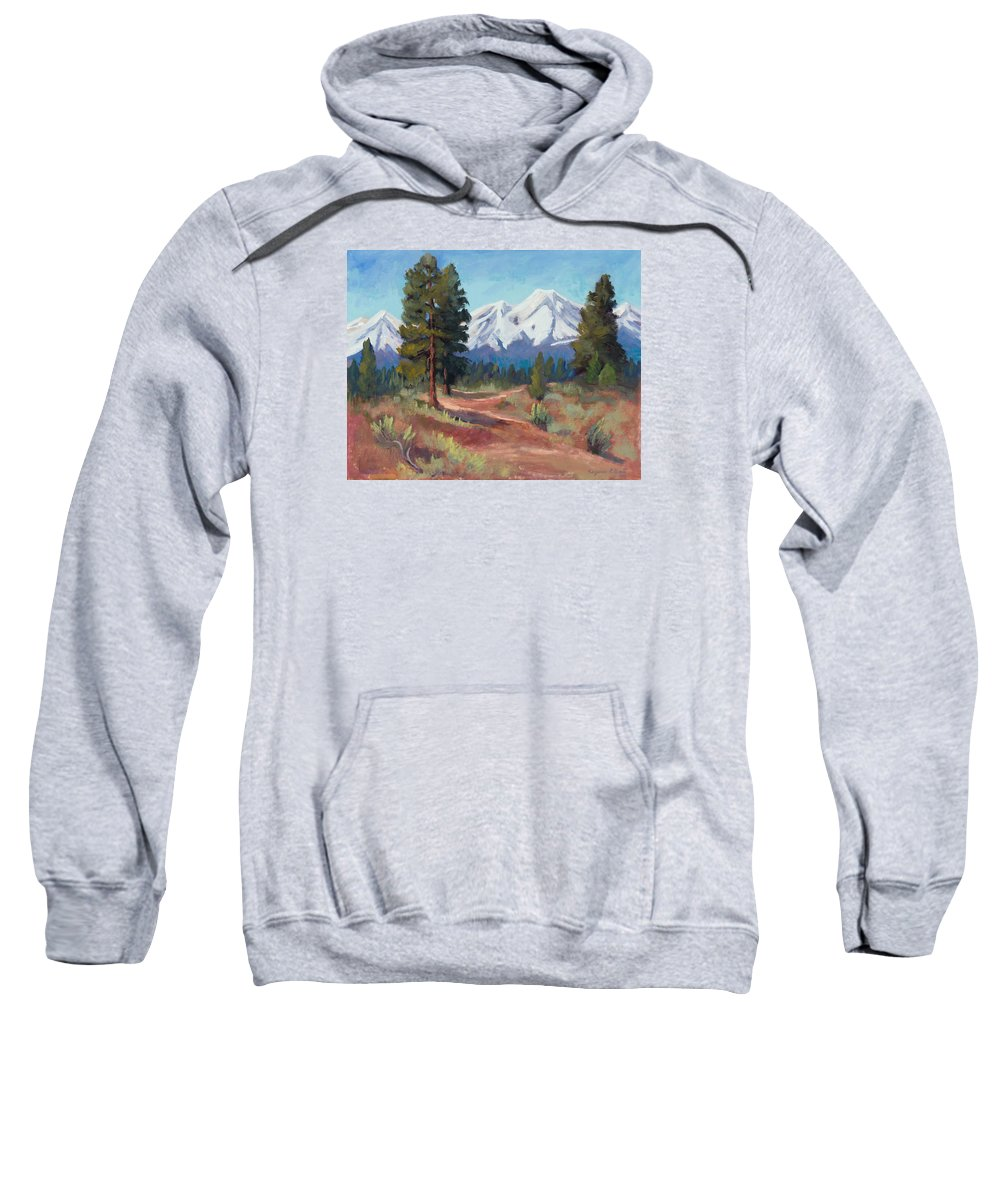 Snow Covered Mountains Sweatshirt featuring the painting Oregon Cascade Mountains by Suzanne Elliott