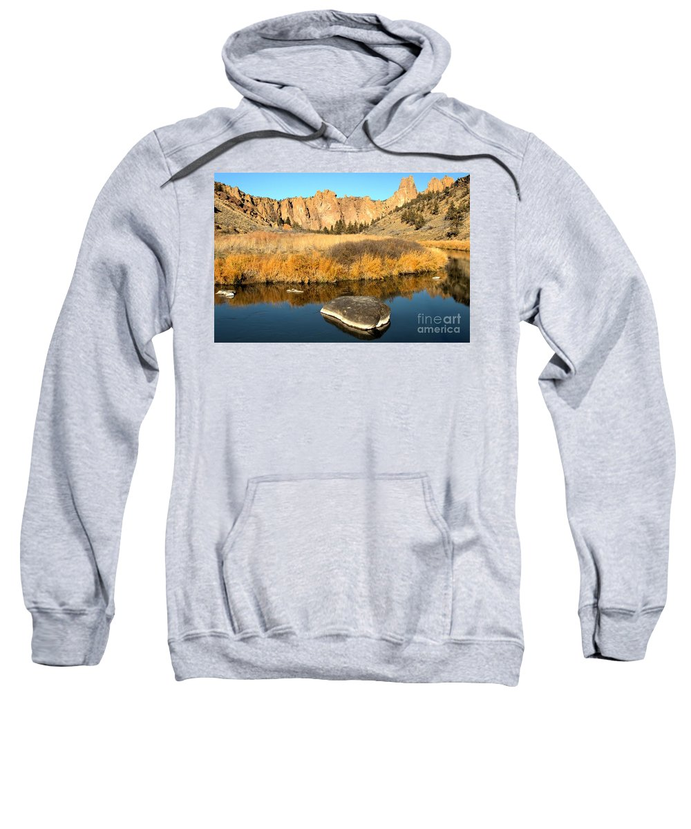 Smith Rock Sweatshirt featuring the photograph Oregon River Rock Reflections by Adam Jewell