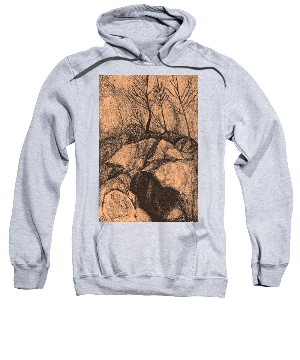 Kendall Kessler Sweatshirt featuring the drawing Original Looking Up by Kendall Kessler