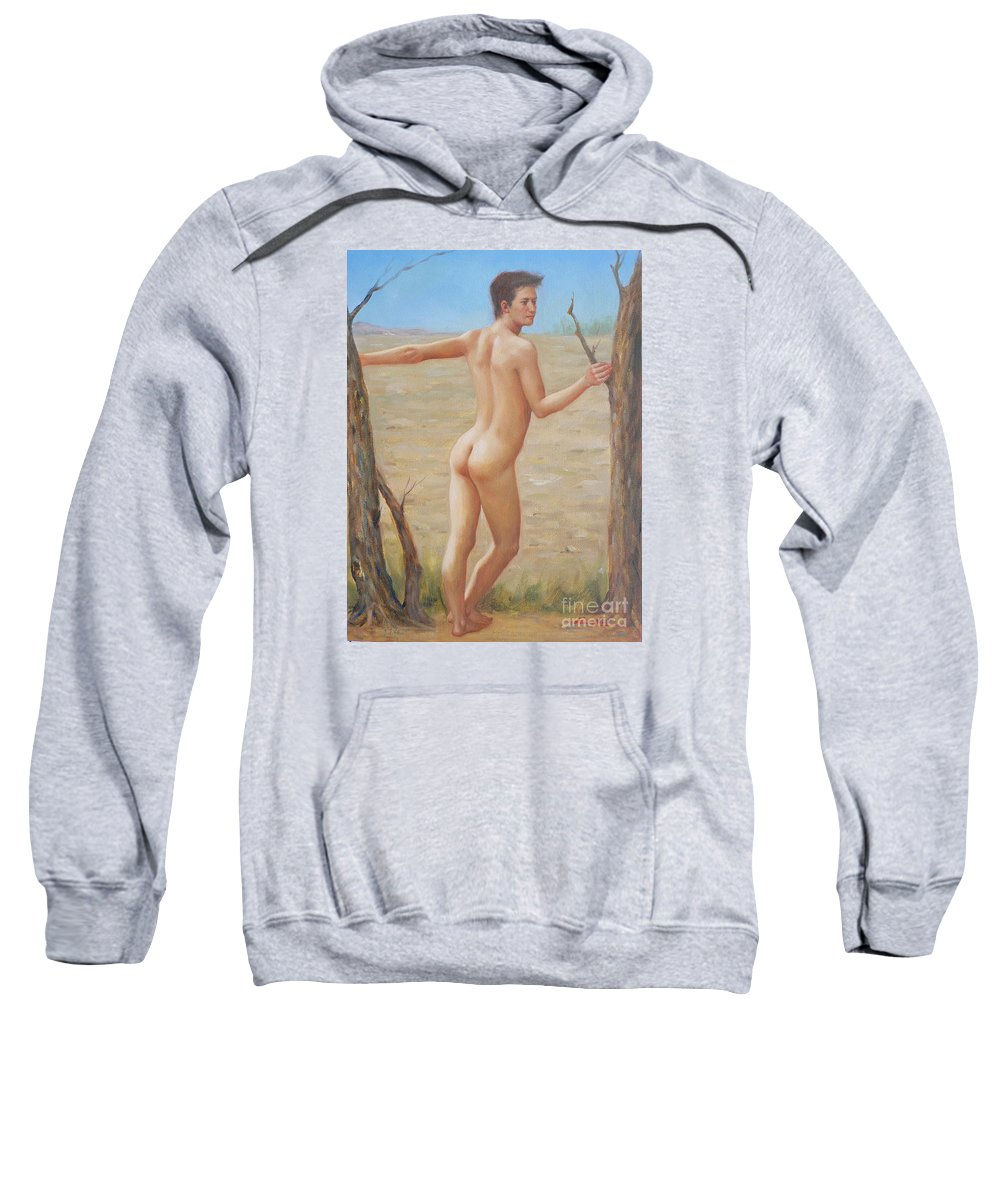 Art Sweatshirt featuring the painting original Oil painting boy art male nude on canvas#16-2-5-07 by Hongtao   Huang