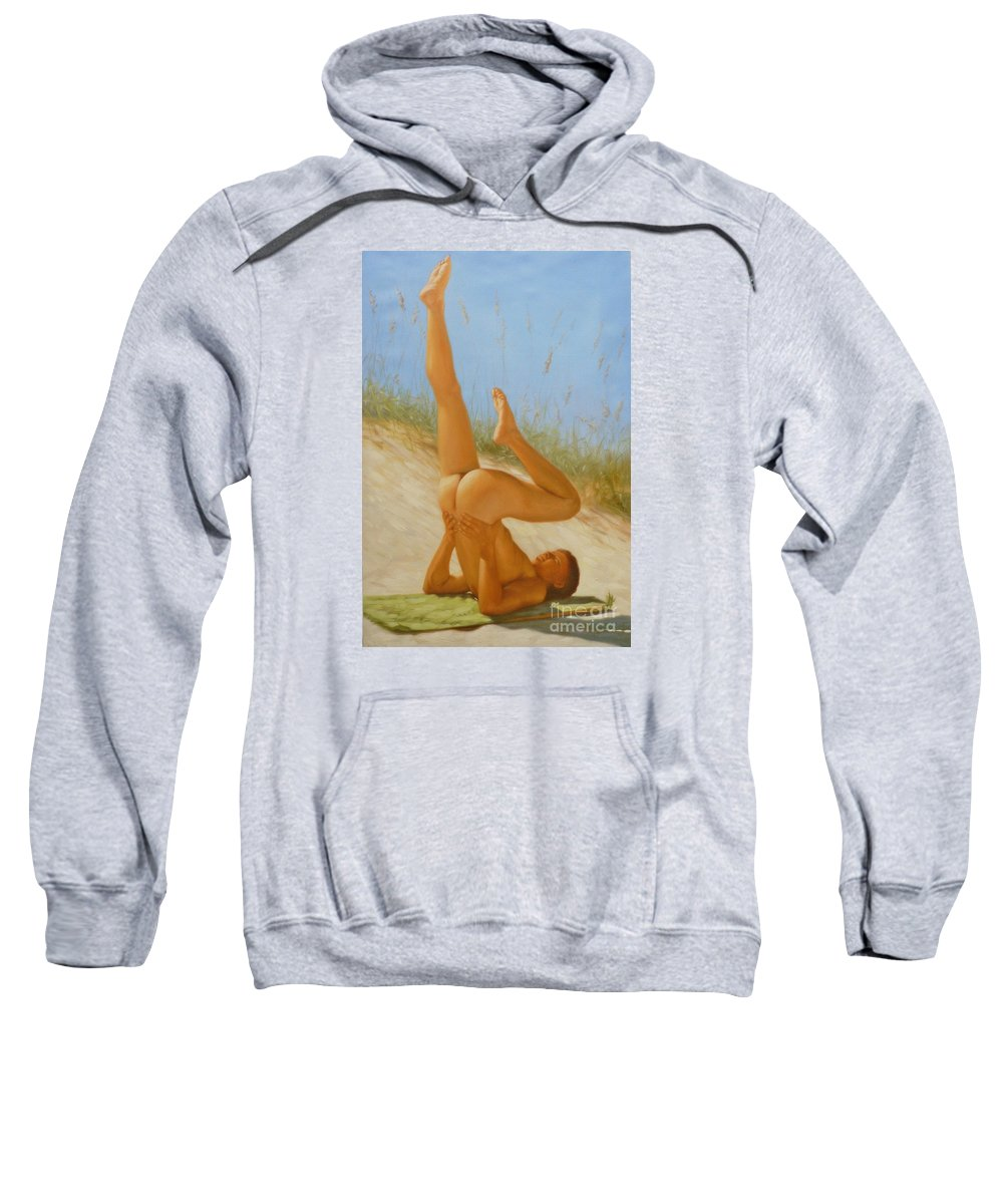 Art Sweatshirt featuring the painting Original Oil Painting Man Art Male Nude On Sand On Canvas#16-2-5-05 by Hongtao   Huang