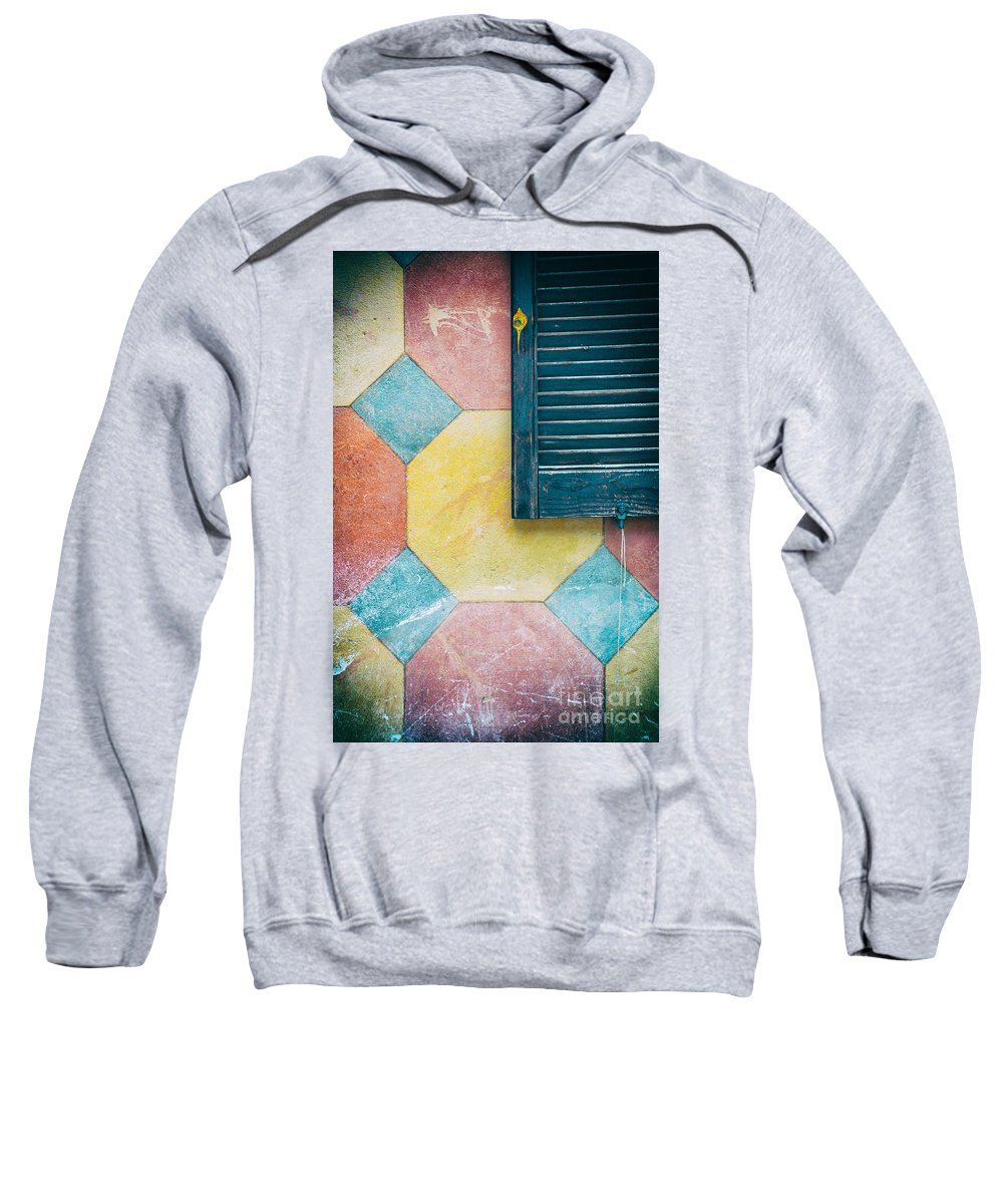 Abstract Sweatshirt featuring the photograph Ornate Wall With Shutter by Silvia Ganora