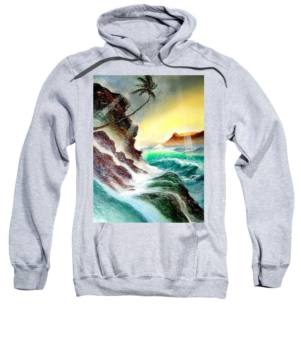 Hawaii Diamondhead Waikiki Sweatshirt featuring the painting Othere Side Of Diamondhead Waikiki Hawaii by Leland Castro