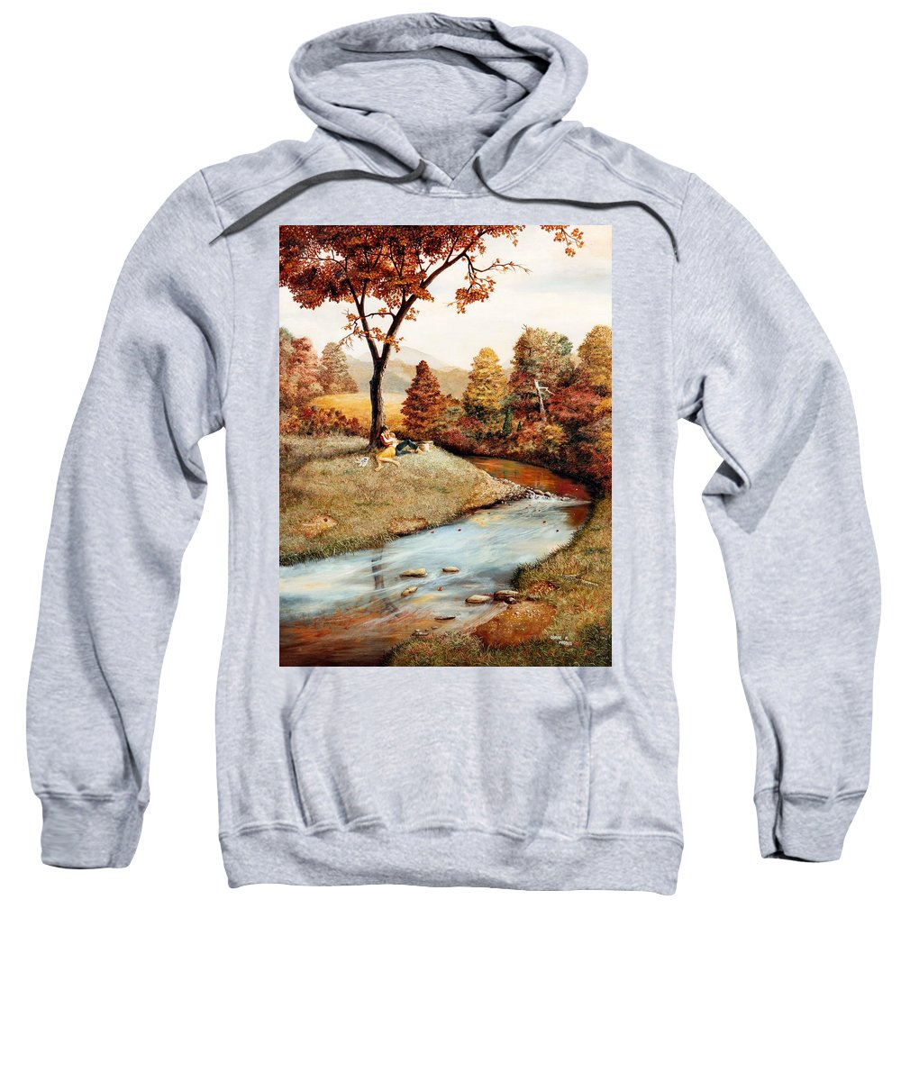 Rural Sweatshirt featuring the painting Our Secret Place by Duane R Probus