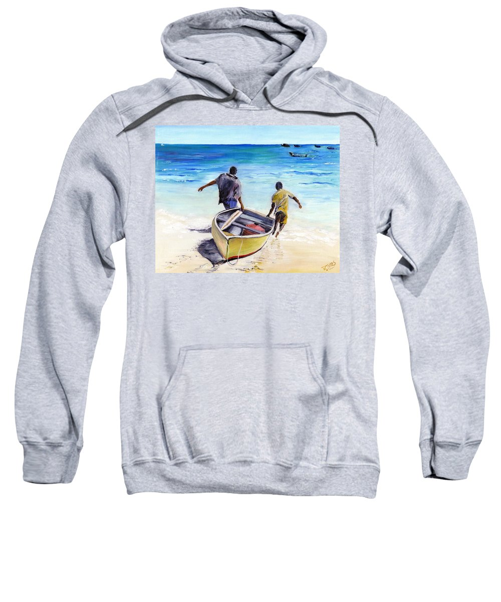 Barbados Sweatshirt featuring the painting Out To Sea by Richard Jules