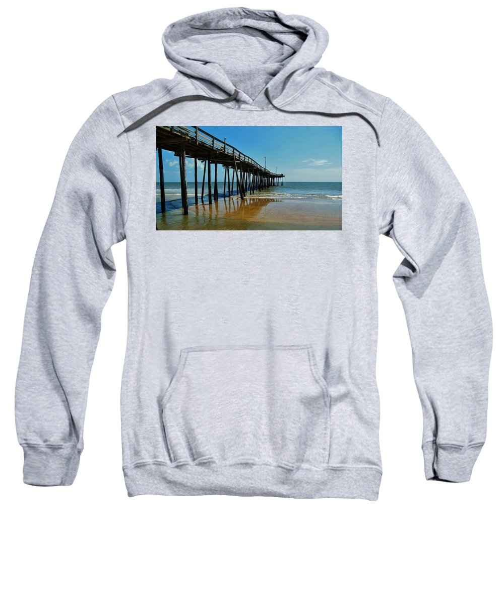 Mark Lemmon Cape Hatteras Nc The Outer Banks Photographer Subjects From Sunrise Sweatshirt featuring the photograph Outer Banks Pier South Nags Head 2 5/22 by Mark Lemmon