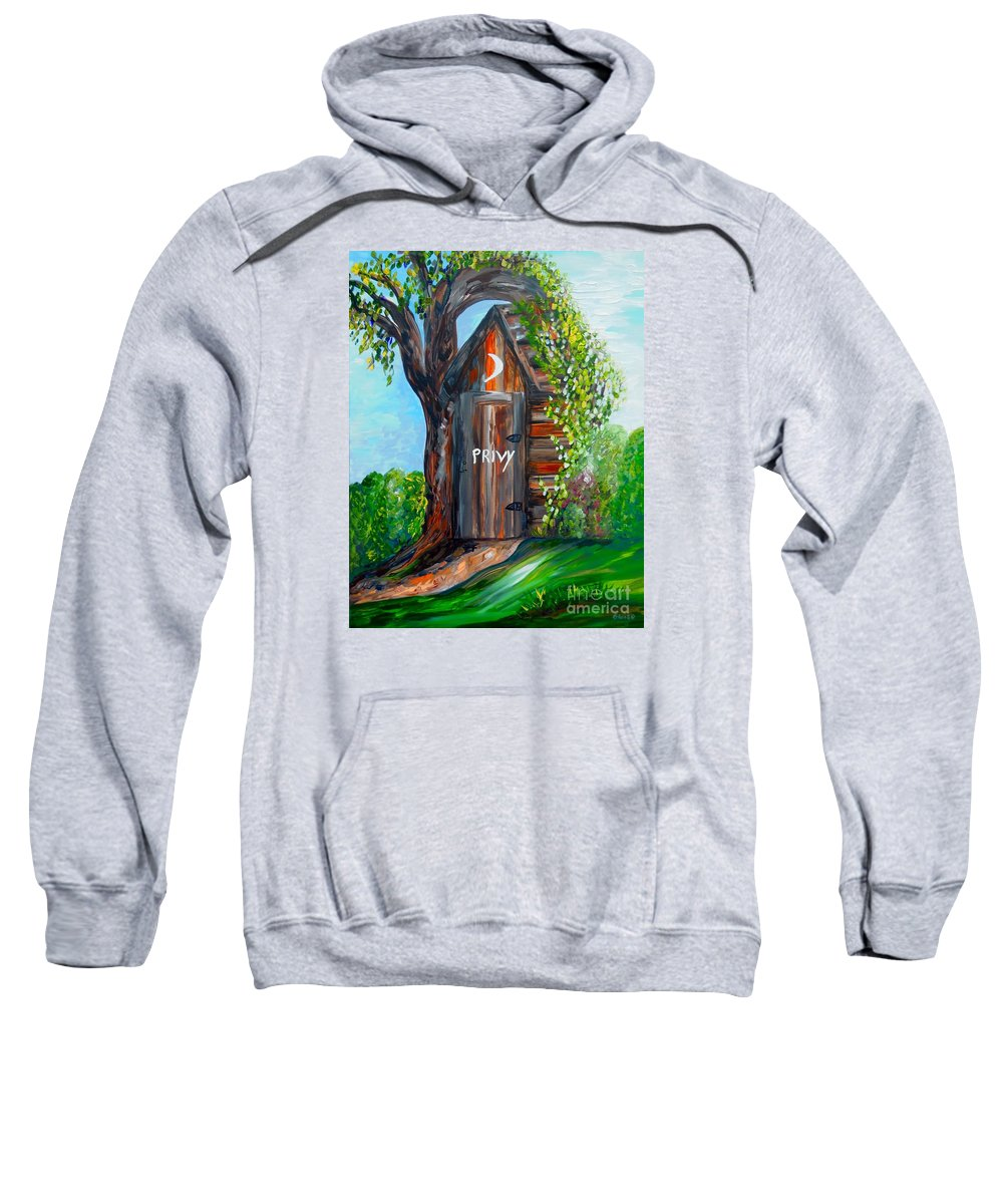 Out House Sweatshirt featuring the painting Outhouse - Privy - The Old Out House by Eloise Schneider