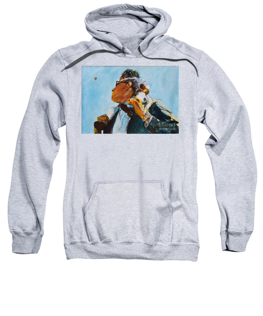 Balloon Sweatshirt featuring the painting Over Our Shoulders					 by Charles M Williams