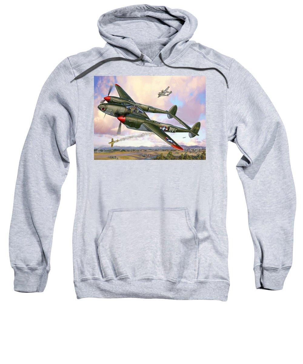 P-38 Sweatshirt featuring the digital art P-38F Lightning Sicilian Summer by Stu Shepherd