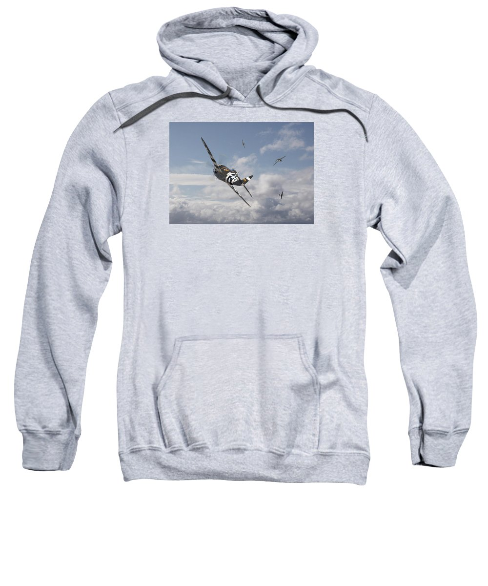 Aircraft Sweatshirt featuring the photograph P47- Fw190 - Carousel by Pat Speirs