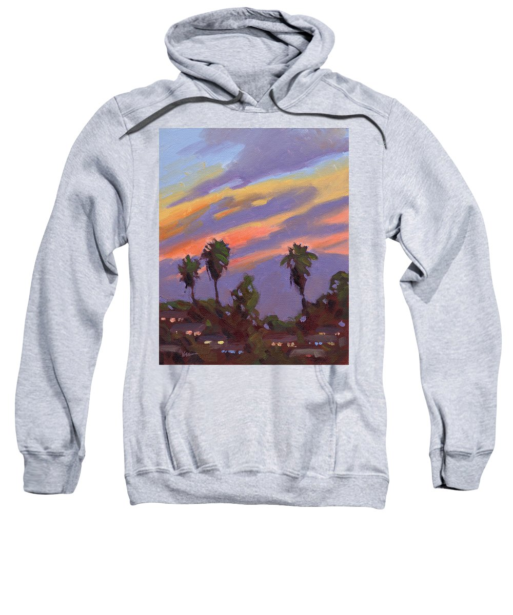 Sunset Sweatshirt featuring the painting Pacific Sunset 1 by Konnie Kim