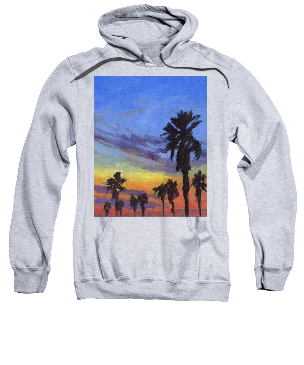 Sunset Sweatshirt featuring the painting Pacific Sunset 2 by Konnie Kim