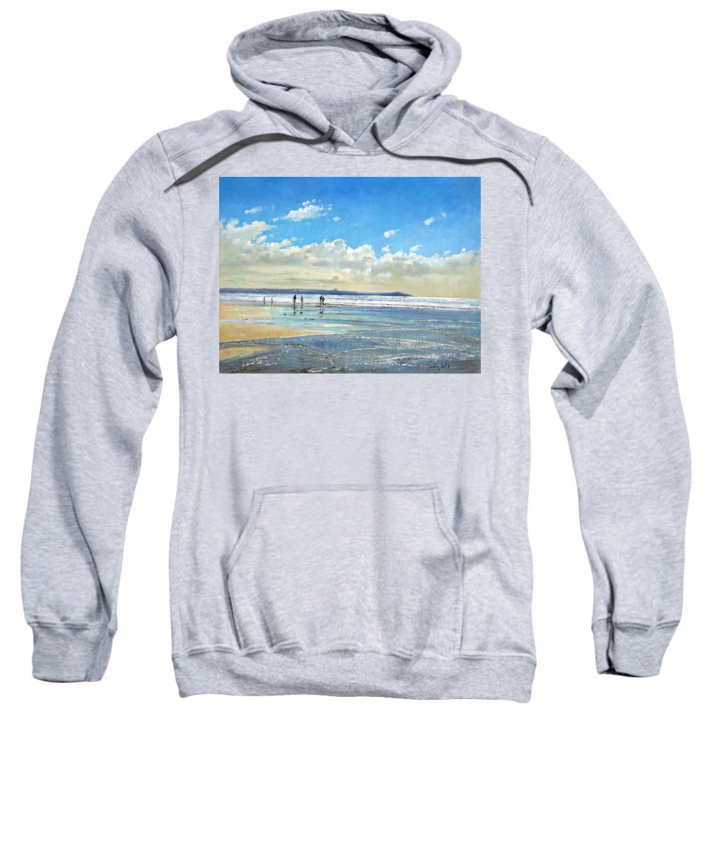 Seaside; Beach; Holiday; Sea; Low Tide; Summer; Shore; Coast Sweatshirt featuring the painting Paddling At The Edge by Timothy Easton