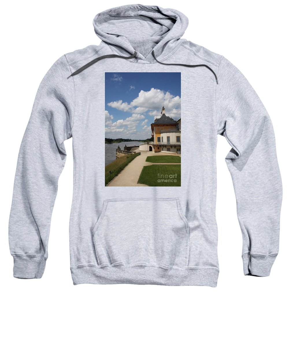 Palace Sweatshirt featuring the photograph Palace Pillnitz And River Elbe by Christiane Schulze Art And Photography