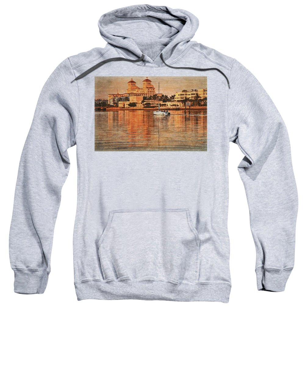 Boats Sweatshirt featuring the photograph Palm Beach At Golden Hour by Debra and Dave Vanderlaan