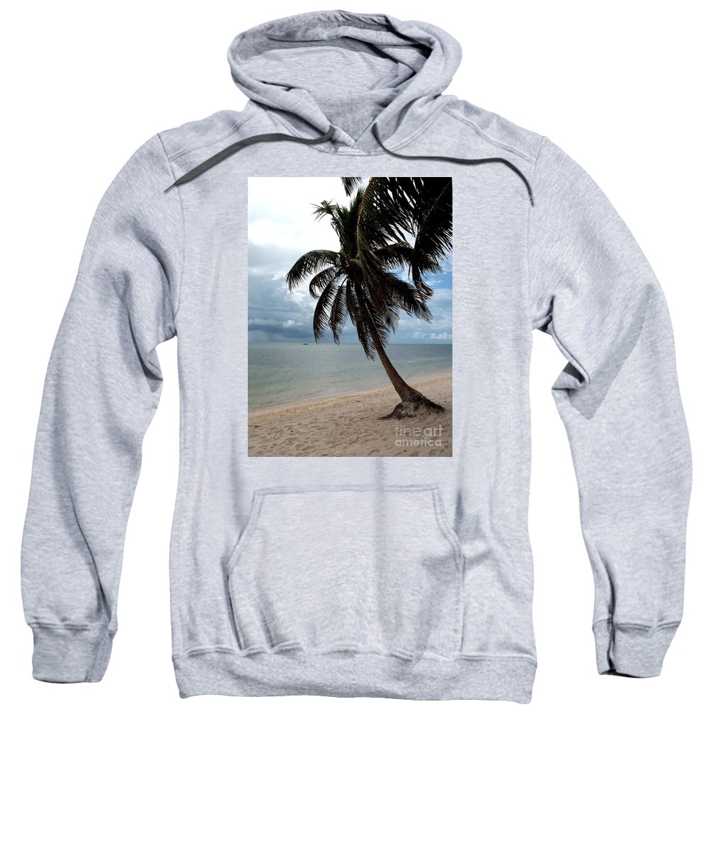 Beach Sweatshirt featuring the photograph Palm On The Beach by Christiane Schulze Art And Photography