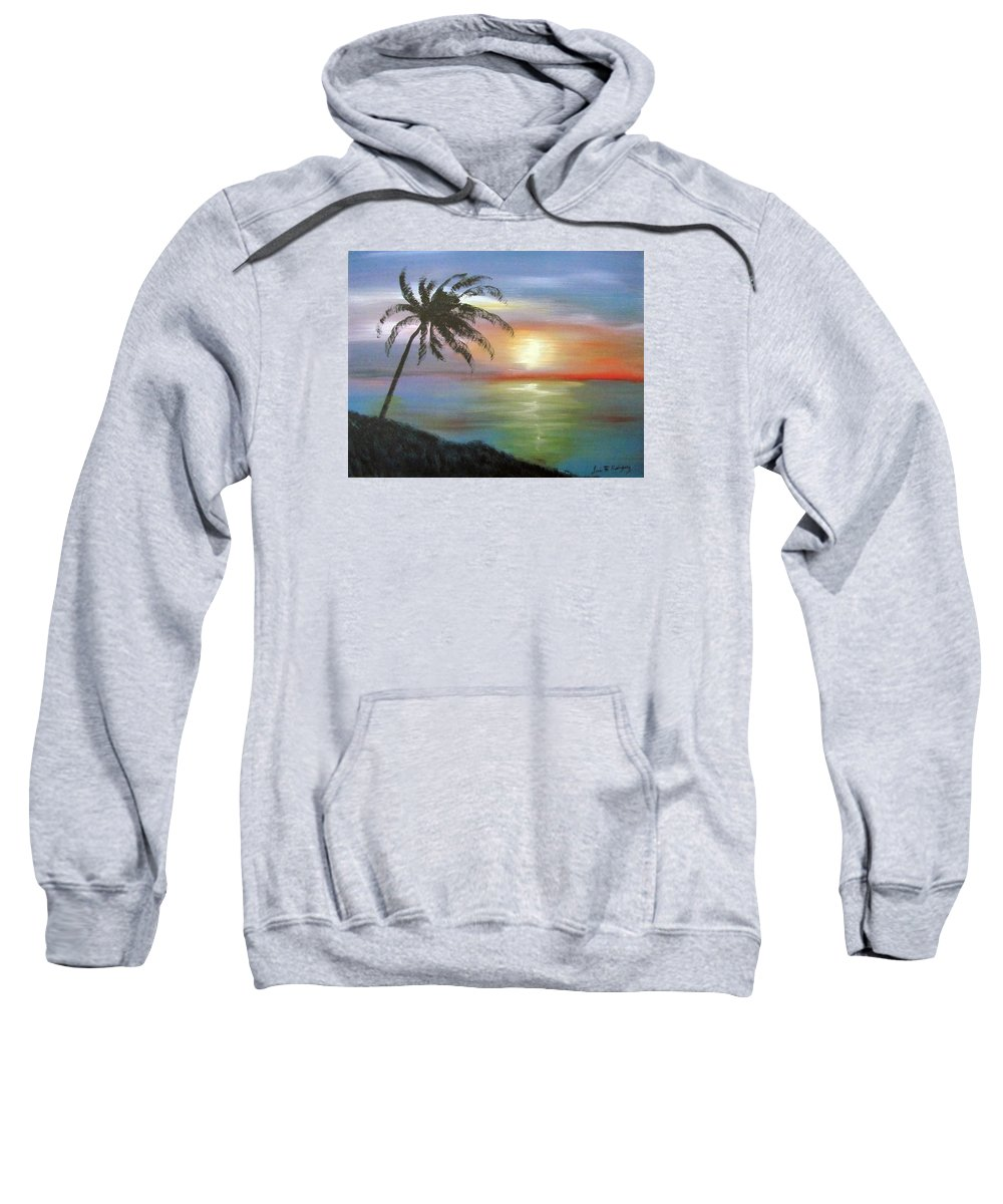 Palm Sunset Sweatshirt featuring the painting Palm Sunset by Luis F Rodriguez