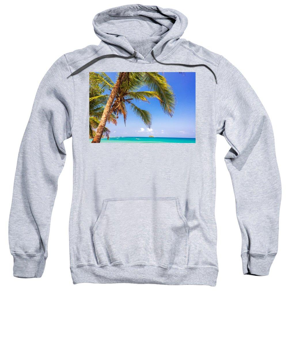 Capurgana Sweatshirt featuring the photograph Palm Tree And Caribbean by Jess Kraft