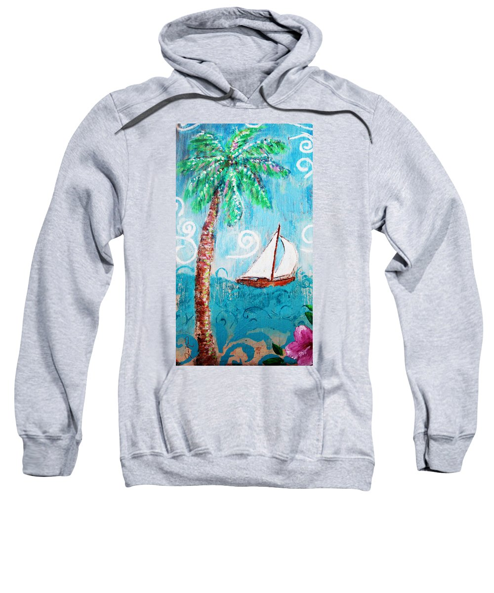 Palm Tree Sweatshirt featuring the painting Palm Tree And Sailboat By Jan Marvin by Jan Marvin