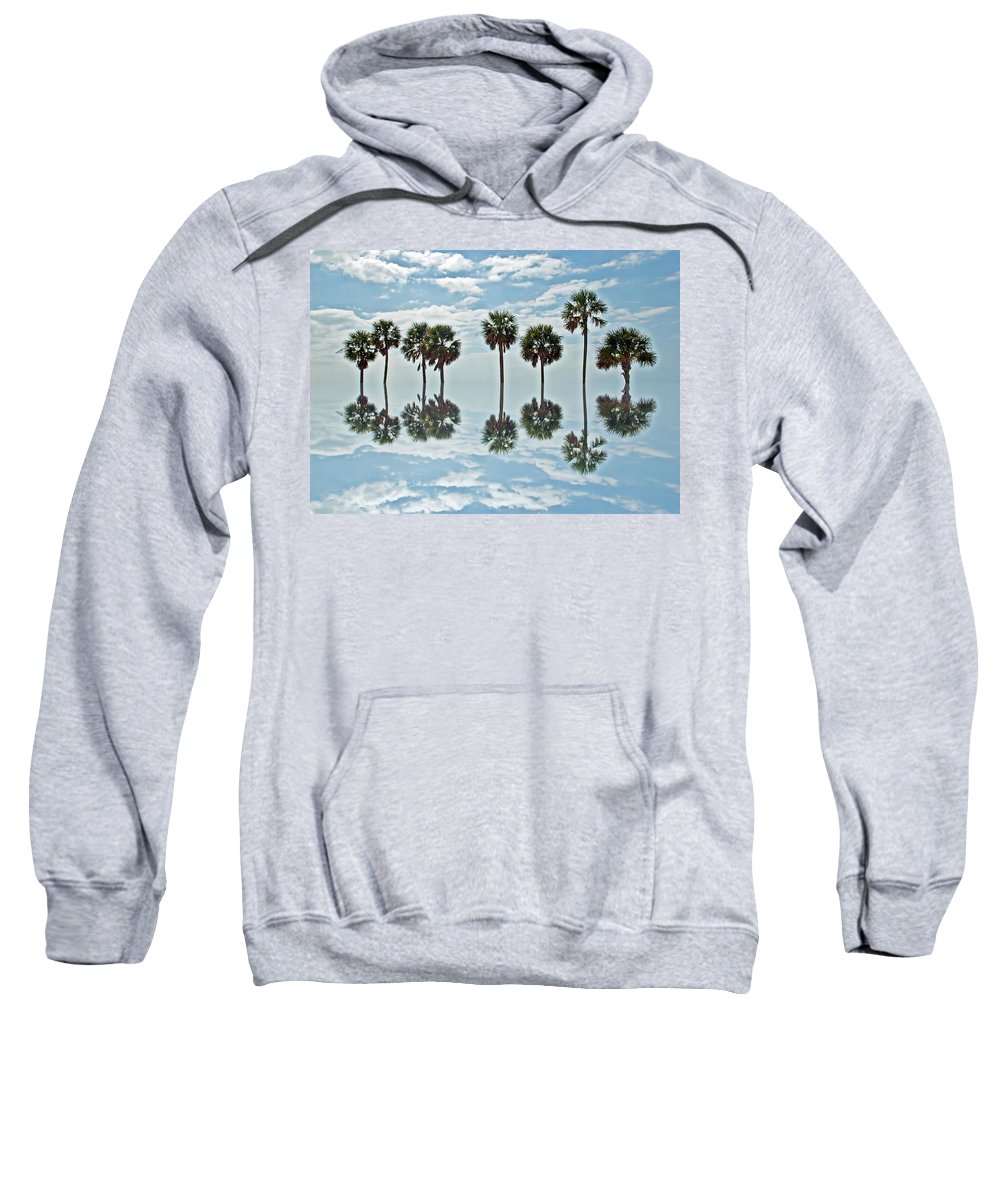 Palm Tree Sweatshirt featuring the photograph Palm Tree Reflection by Aimee L Maher ALM GALLERY