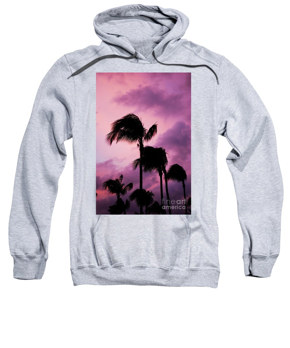 Palm Tree Sweatshirt featuring the photograph Palm Tree Silhouettes At Dusk In Aruba by DejaVu Designs