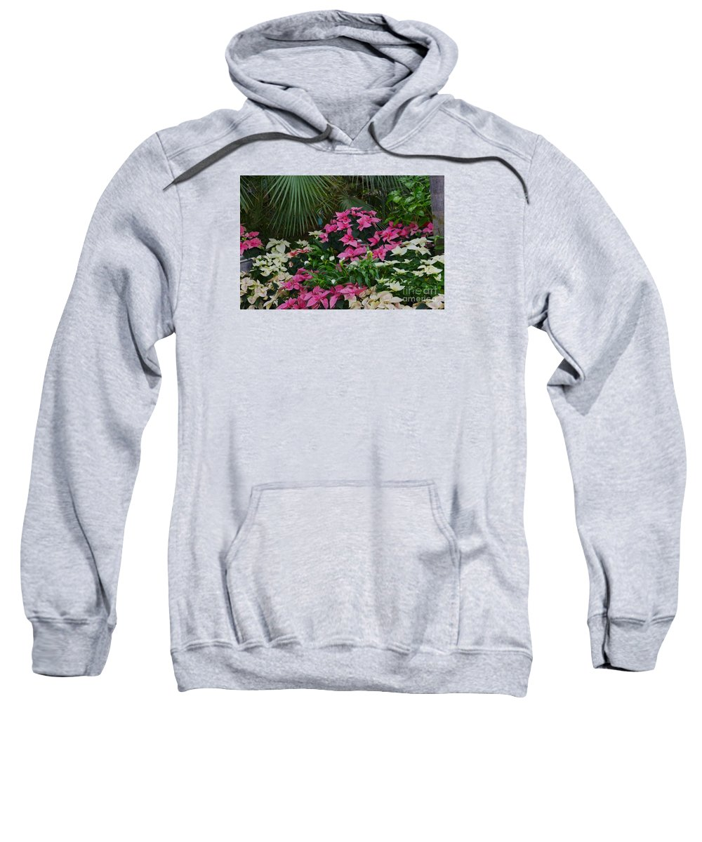 Palm Sweatshirt featuring the photograph Palms And Flowers by Kathleen Struckle
