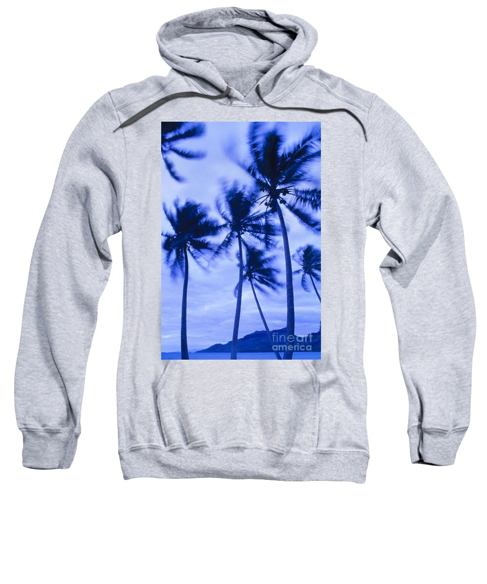 Blue Sweatshirt featuring the photograph Palms In Storm Wind-bora Bora Tahiti by Frans Lanting MINT Images