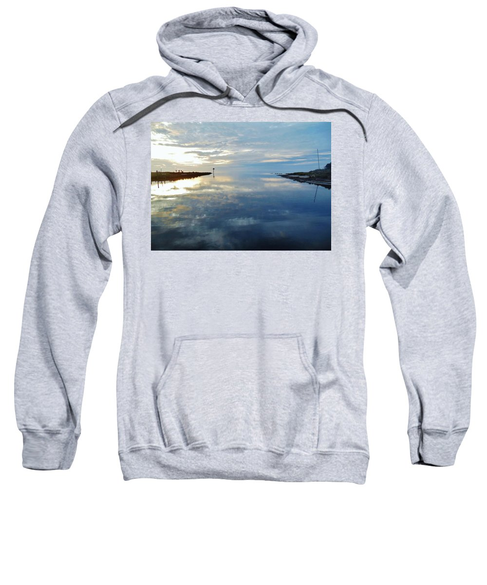 Mark Lemmon Cape Hatteras Nc The Outer Banks Photographer Subjects From Sunrise Sweatshirt featuring the photograph Pamlico Sound Sunset Reflection 7 12/5 by Mark Lemmon
