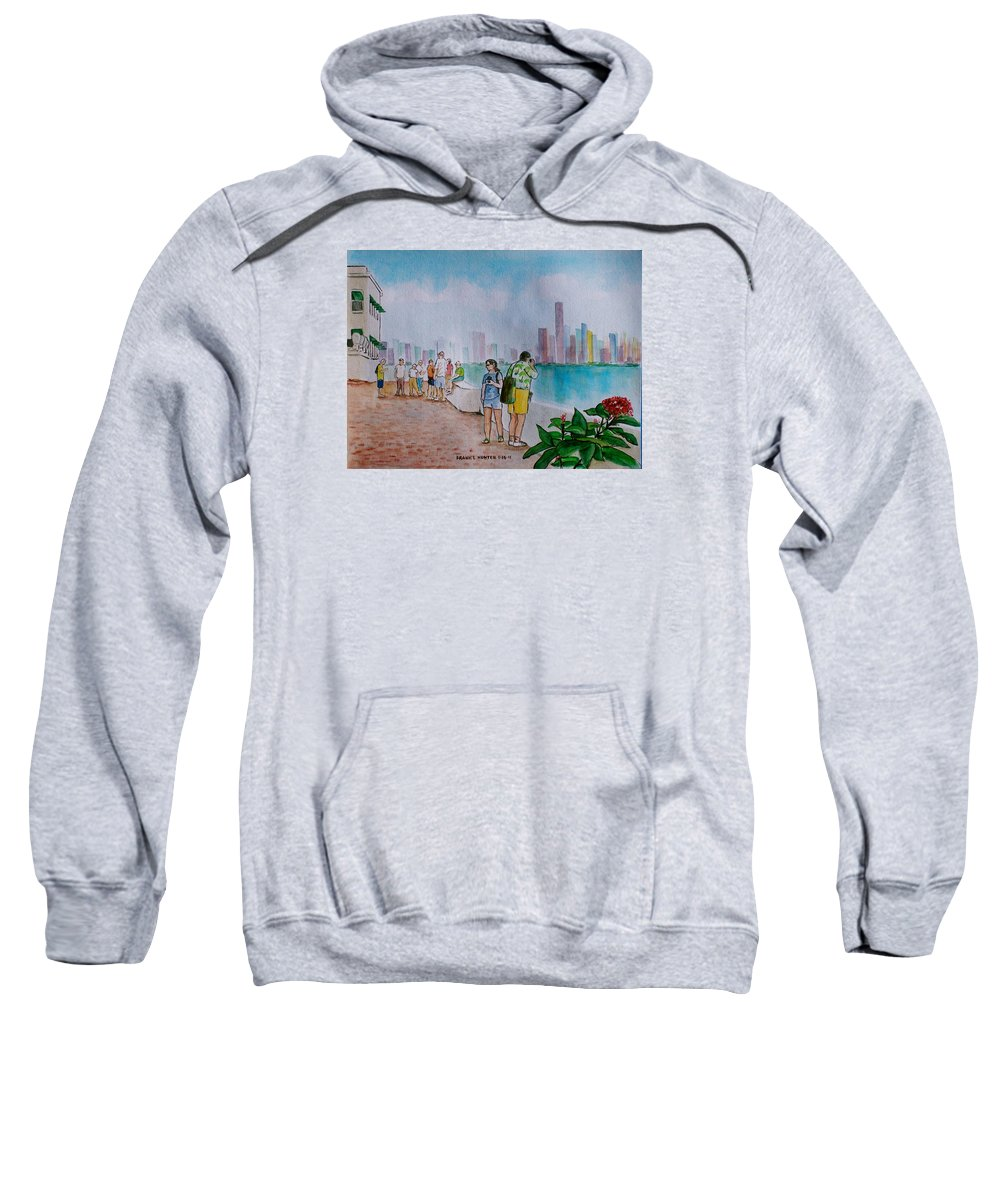 Panama City Tourists Tall Buildings People Flower Sweatshirt featuring the painting Panama City Panama by Frank Hunter