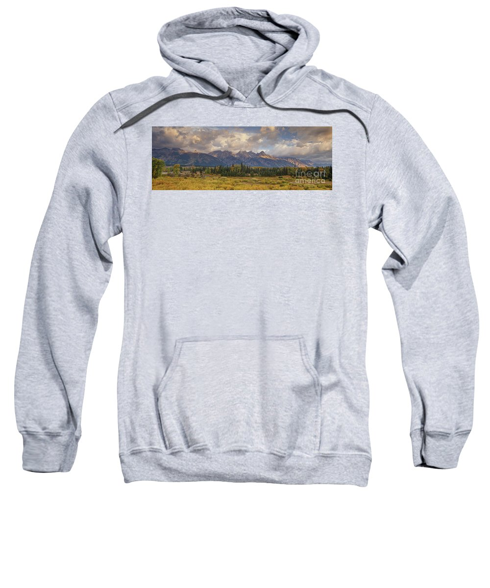North America Sweatshirt featuring the photograph Panaroma Clearing Storm On A Fall Morning In Grand Tetons National Park by Dave Welling