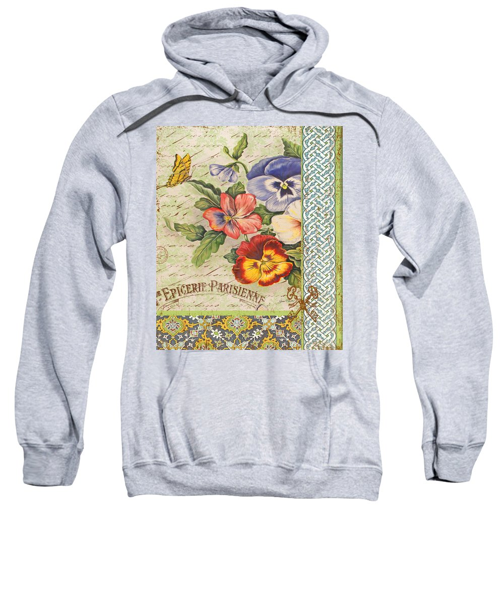 Watercolor Painting Sweatshirt featuring the painting Pansy Garden-b by Jean Plout