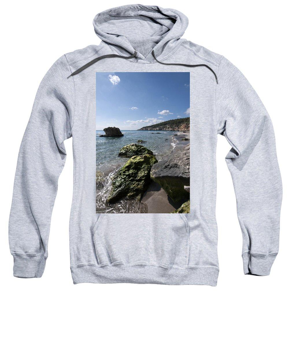 Background Sweatshirt featuring the photograph Binigaus Beach In South Coast Of Minorca Island Europe - Paradise Is Not Far Away by Pedro Cardona Llambias