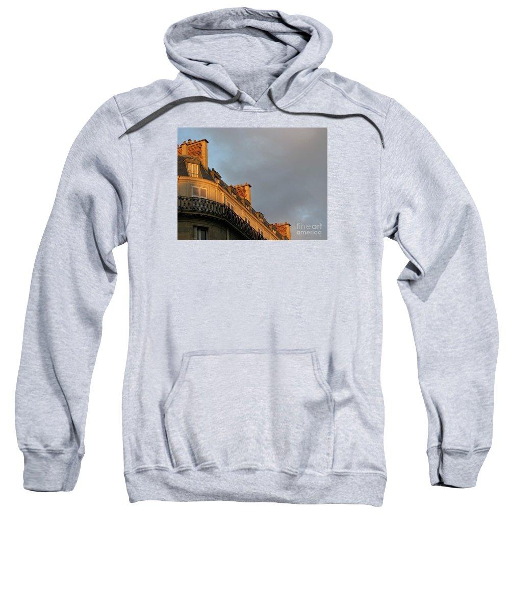 Paris Sweatshirt featuring the photograph Paris At Sunset by Ann Horn