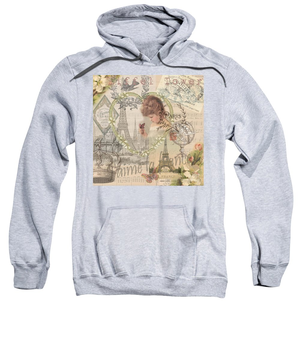 Doodlefly Sweatshirt featuring the digital art Paris Vintage Collage With Child by Mary Hubley